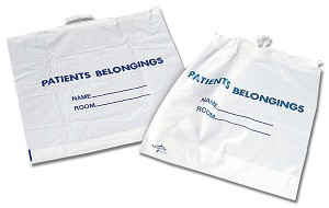Rigid Handle Plastic Bag - Patient Belonging, Rgd Hdl, Wht, Prnt, Box of 250 - Model NON026320