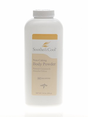 Medline Soothe & Cool Cornstarch Body Powder - Soothe&Cool, 14 Oz, Box of 12 - Model MSC095392