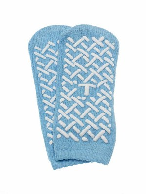 Medline Single-Tread Slipper - Single Tread, Teal, Toddler, Box of 96 - Model MDT211218T