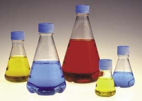 NNI Disposable Erlenmeyer Flasks with Vented Closure, PETG, Sterile, NALGENE - Baffled Bottom Flasks