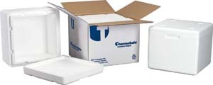 ThermoSafe Insulated Shippers, Expanded Polystyrene - Assembled Foam Unit in Corrugated Carton