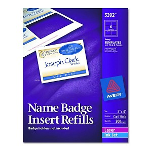 Avery-Dennison Name Badge Insert Refill - F/5384, Nme Tag, 300, Box of 300  - Model 5392