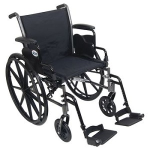 "Drive Cruiser III Lightweight, Dual Axle Wheelchair - 20"" x 16"", Legrests, Removable Height Adjustable Desk Arms"