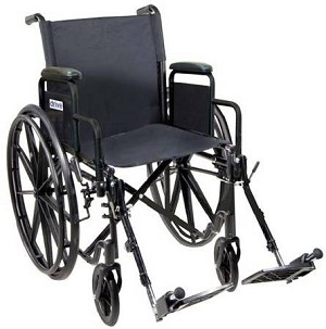 Drive Medical Silver Sport 1 Wheelchair Wheelchair, 16 Inch Nylon Push locks, Each - Model SSP118FA-ELR