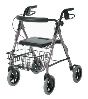 "Medline Guardian Deluxe Rollators with 8"" Wheel - Aluminum, Rose, Each - Model G07887R"