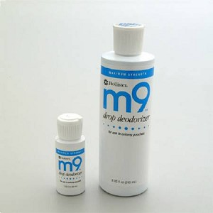 m9 Odor Eliminator Drops, Unscented, 8 oz. Bottle, Accessory for All Hollister Pouches, Each
