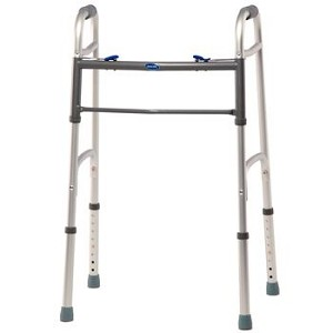 "Invacare Blue-Release Two-Button Walker - Adult Walker w/ 5"" Wheels 4-pack - Item #081611524"