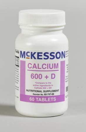 Mckesson Calcium Supplement With Vitamin D Calcium 600 Mg Vitamin D 200 Iu Tablet 60 Per Bottle