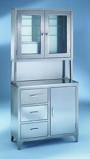 Stainless Steel Instrument Supply Cabinet - Closed Bttm, Top Glass, (7956Ss), Each