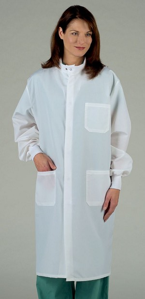 Medline Unisex ASEP Barrier Lab Coat - White, Lg, Each - Model 6623BQWL