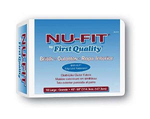 Nu-Fit by First Quality Brief Limited Mat Body Shaped, 45-58 Inch Large Blue Moderate Absorbency