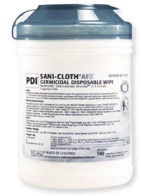 Pdi sani cloth af3 surface disinfectant wipe canister for Surface container