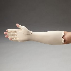 Rolyan Compression Gloves, Forearm Length - FULL FINGER R-L, Seams on outside - Model 081569235