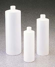 I-Chem Cylinder Round Bottles, High-Density Polyethylene, Narrow Mouth, Model 013-0250BP
