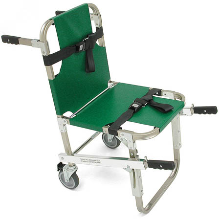 Junkin Evacuation Chair With Handles and Wheels, Green - Model JSA-800EHW, Each