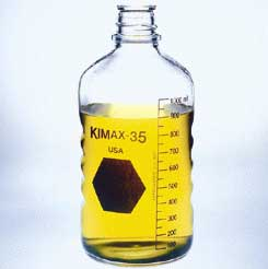 Kimble Chase KIMAX Media/Laboratory Bottles - Phenolic Caps with PTFE-Faced/14B White Rubber Liner