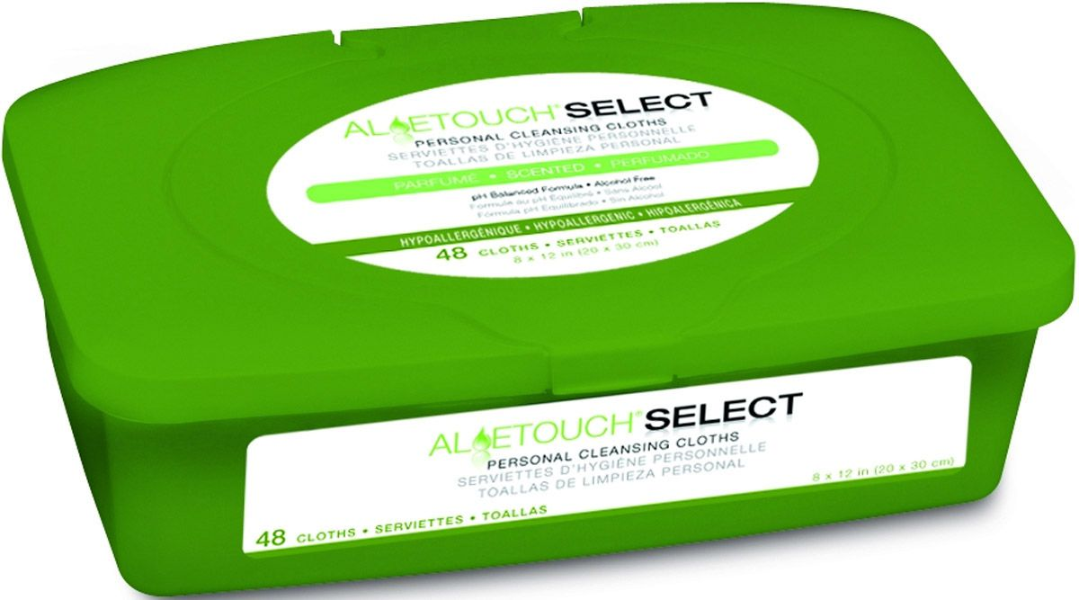 Aloetouch SELECT Premium Spunlace Personal Cleansing Wipe - Scented, 8X12, Pop-Up, Box of 12