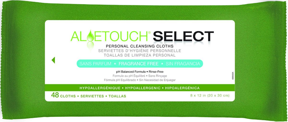 Aloetouch SELECT Premium Spunlace Personal Cleansing Wipe - Frag Free, 8X12, Box of 12
