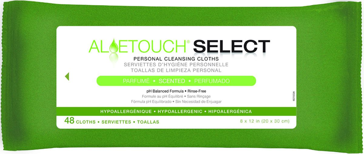 Aloetouch SELECT Premium Spunlace Personal Cleansing Wipe - Scented, 8X12, Box of 576