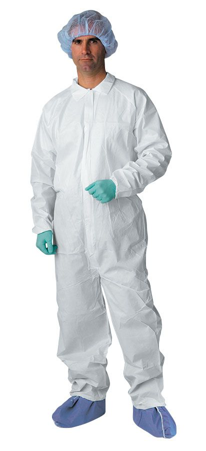 Classic Breathable Coverall - Brthbl, Elastc Wrst/Ankl, Wht, Lg, Box of 25 - Model NONCV700L
