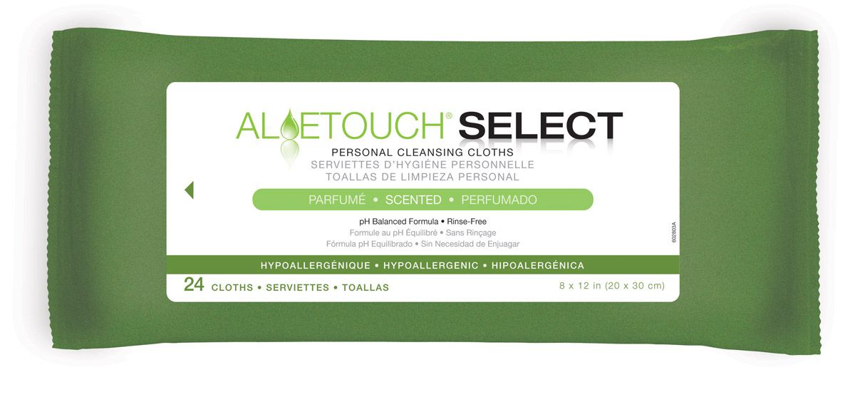 Aloetouch SELECT Premium Spunlace Personal Cleansing Wipe - Readycleanse, Scented, 8X12, Box of 24