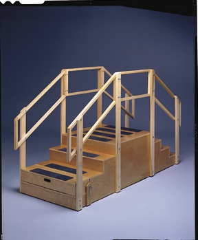 Two-Sided Compact Training Stairs W/Platform, 36