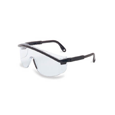Uvex Astrospec 3000 Safety Glasses, Black W/Clear Lens - Model S135C, Each