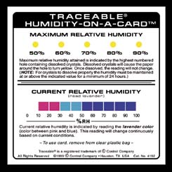 VWR Traceable Humidity-On-A-Card Card, Model 15551-012, Pack of 6