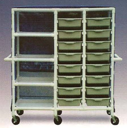 600 series Linen Cart 3 X 1-1/4 Inch Extra Wide Casters 75 Lb Per Shelf, Peacock, Each