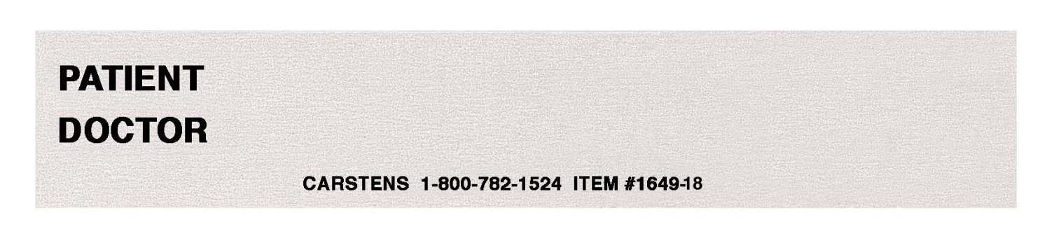 Carstens Preprinted Patient/Doctor I. D. - Card, Spine, White, Pack of 100 - Model 1649-01