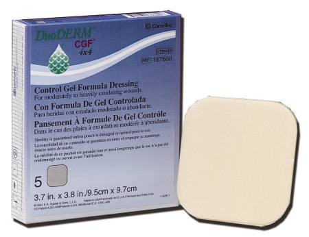 Convatec DuoDERM CGF Hydrocolloid Dressing, Hydrocolloid 4 X 4 Inch, Sand, Box of 5 - Model 187660