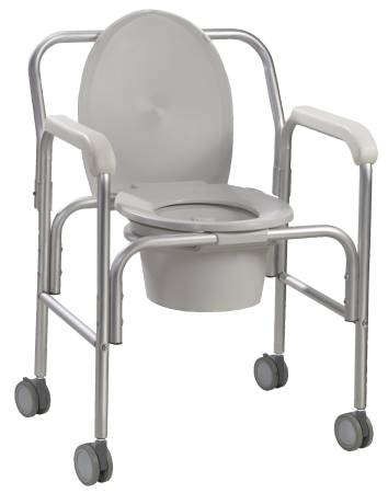 Drive Medical Commode Aluminum Reclining Back, Angled Back 18.75 Inch, Pkg of 2 - Model 11112-2
