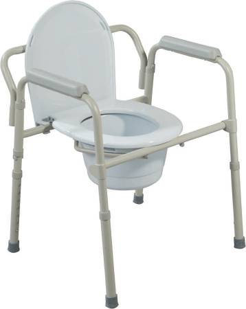 Drive Medical Commode Steel Seat Lid Back 16.5 to 22.5 Inch, Grey, Pkg of 4 - Model 11148N-4