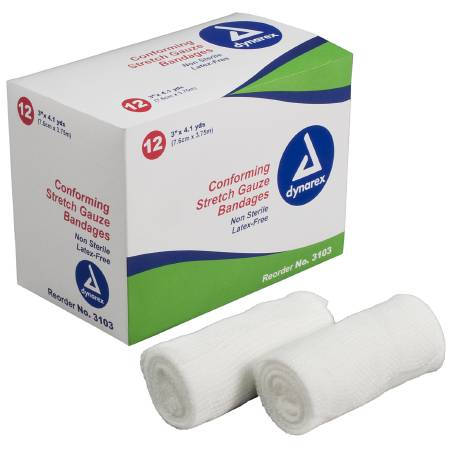 Dynarex Stretch Gauze 4.1 Yard X 3 Inch, Box of 12 - Model 3103