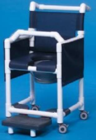 IPU Deluxe Shower Commode Chair, With Backrest 20 Inch, Gray, Forest Green, Each - Model SCC777G