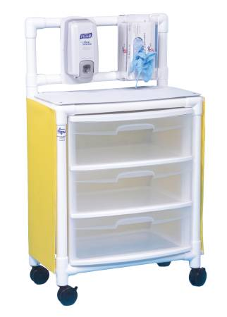 IPU Isolation Cart 26 X 45 X 15 Inch 3 Drawers Yellow, Each - Model ISO ST33