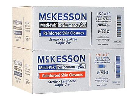 McKesson Medi-Pak Performance Plus Skin Closure, 1/4 X 4 Inch, White, Pkg of 10 - Model 19-75146