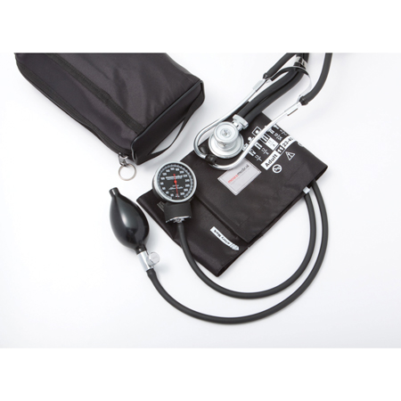 MooreBrand Premium Sphygmomanometer with Sprague Stethoscope Latex Free, Adult, Black, Each