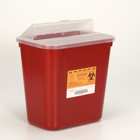 MooreBrand Sharps Containers - Stackable 8 Gallon, 28.25 L x 15 W x 28 H, Red, Each
