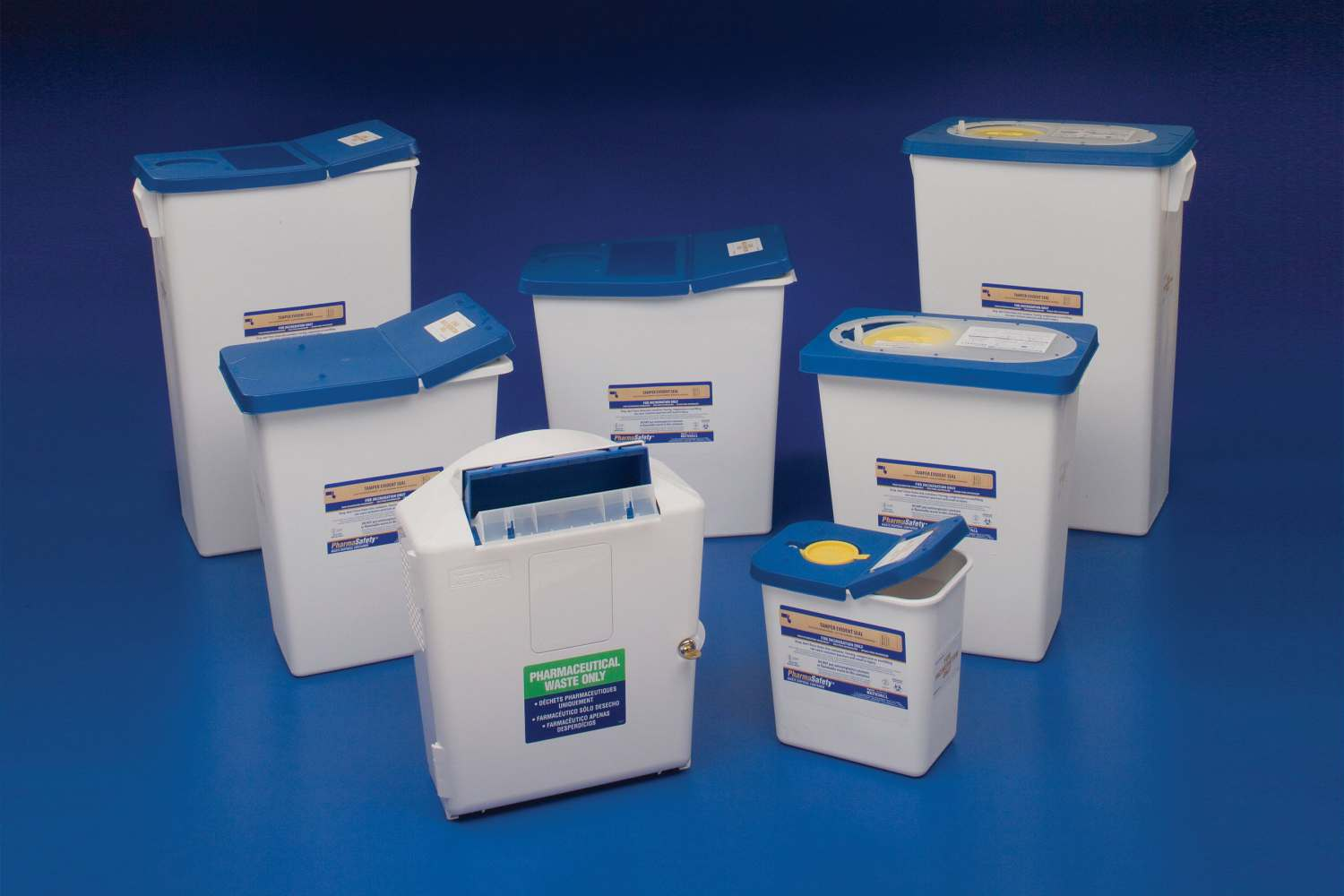 PharmaSafety Sharps Disposal Container - Waste, Pharmacy, 8Gal, Leak Resis, Box of 10 - Model 8850