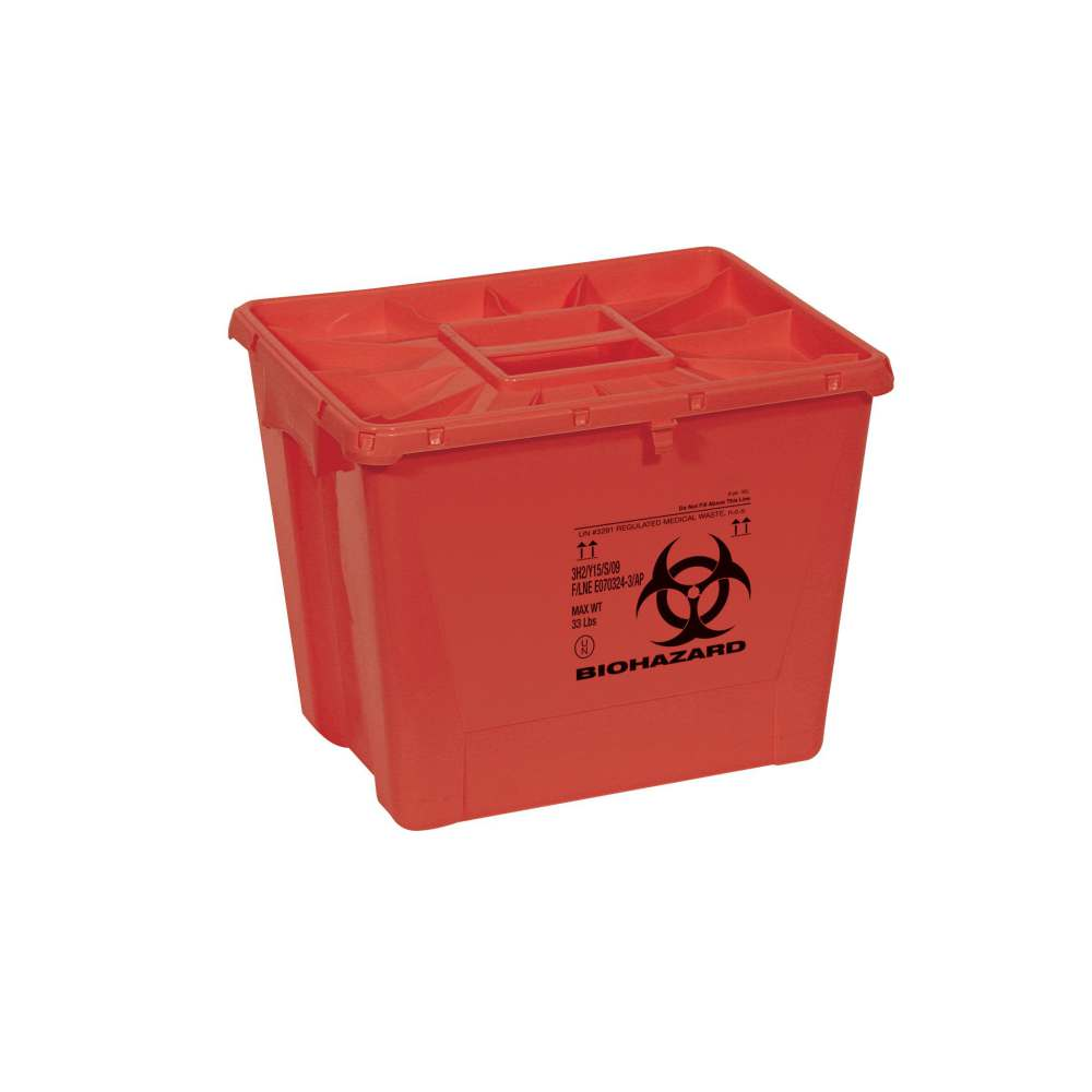 Scott Containers Biohazard Sharps Container - 8 Gal, Flat, Red, Pgii, Box of 9 - Model MDS705208