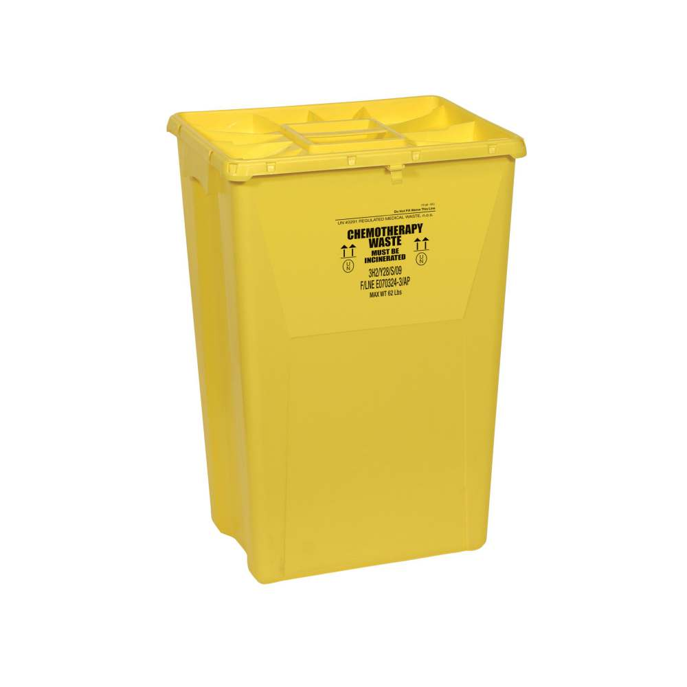 Scott Containers Chemotherapy Sharps Container - 18 Gal, Yellow, Flt, Box of 7 - Model MDS706218