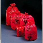 "Biohazard Waste Bags - 11 mic, 24"" x 32"", Red/Black - Model 44-04, Case of 500"