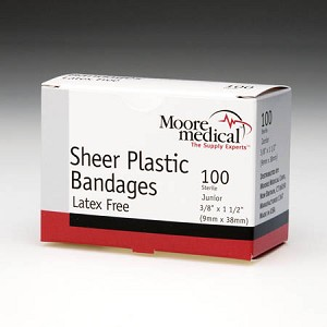 "MooreBrand Adhesive Bandages - Sheer Plastic, Strips, 1"" x 3"", Case of 1500"