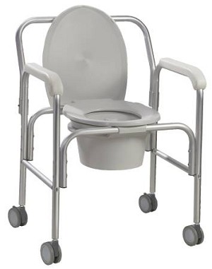 Drive Medical Commode Aluminum Reclining Back, Angled Back 18.75 Inch, Each - Model 11112-2