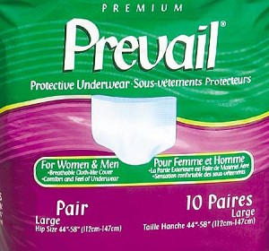Prevail Brief Full Mat Body Shaped, 45-58 Inch Large White Moderate-Heavy Absorbency, Pkg of 64