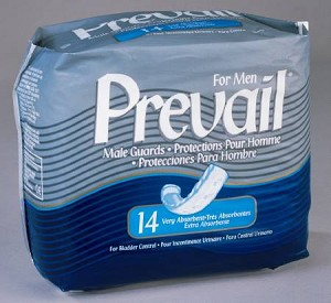 Prevail Bladder Control Pad, Very Light to Light Absorbency Polymer, Fluff, 13 Inch, Pkg of 14