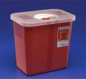 Multi-purpose Sharps Container 1-Piece 4.5H X 4.75D X 4.75W Inch 0.5 Gallon Red Base Rotor Lid, Each