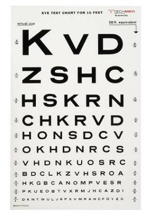 McKesson Medi-Pak Eye Test Chart, 10 Feet Snellen, 9 X 14