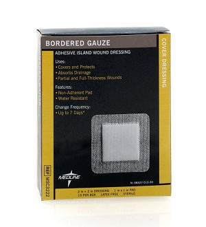 "Medline Sterile Bordered Gauze - 2"" X 2""(1"" X 1""Pad)Strl, Box of 150 - Model MSC3222"